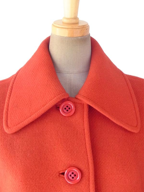 ヨーロッパ古着 フランス買い付け 60年代製 レッド X Aライン ヴィンテージ ウール コート 18FC003