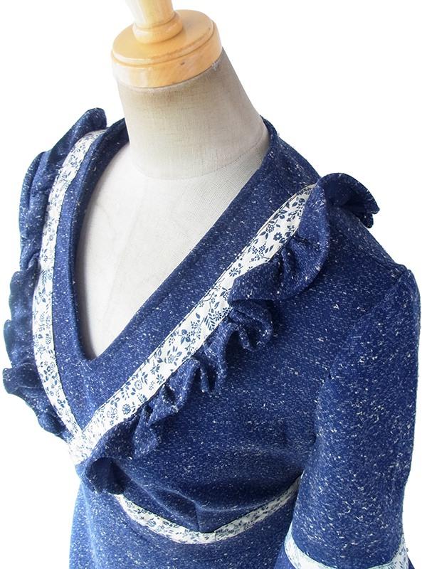 ヨーロッパ古着 フランス買い付け 70年代製 ネイビー X ホワイト 霜降 花柄リボン ギャザーデザイン ヴィンテージ ワンピース 18FC004