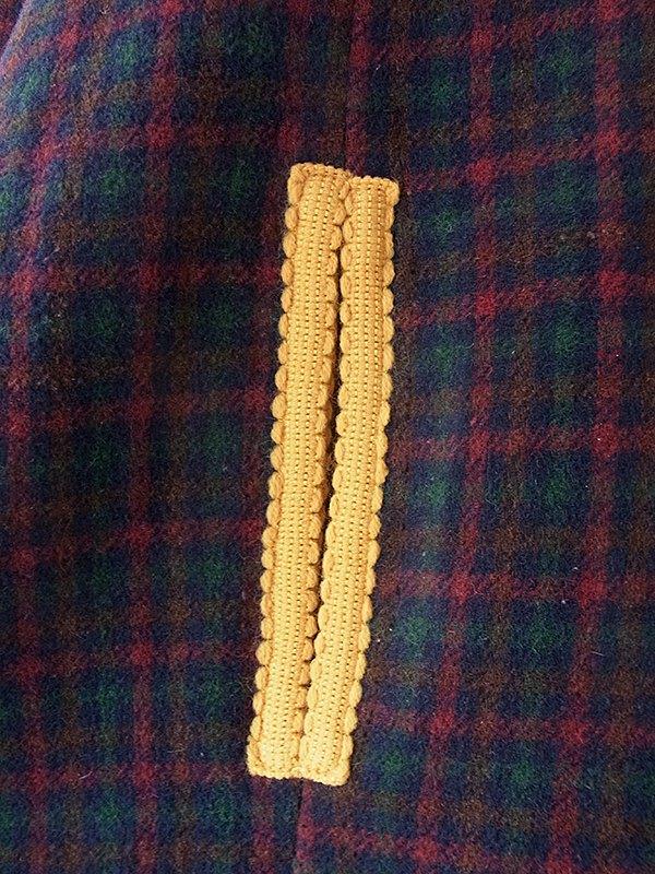 ヨーロッパ古着 フランス買い付け 60年代製 グリーン・レッド チェック柄 X イエロー ライニング 厚手ウール マント 18FC007