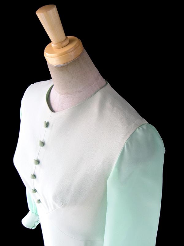 ヨーロッパ古着 フランス買い付け 70年代製 ペールグリーン X スカラップデザイン・シフォン生地袖  ワンピース 18FC008