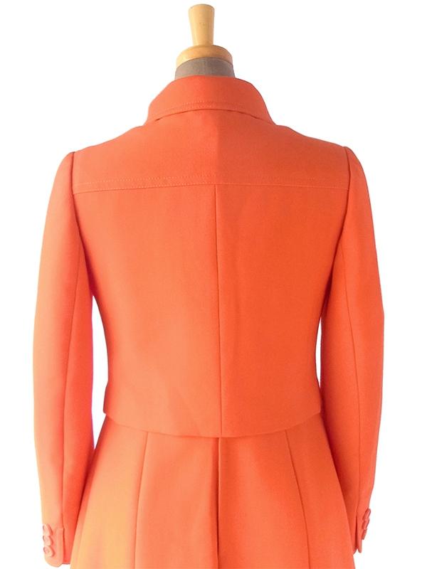 ヨーロッパ古着 フランス買い付け 60年代製 オレンジ X ビッグステッチ ウール ジャケット・ワンピース セットアップ 18FC009
