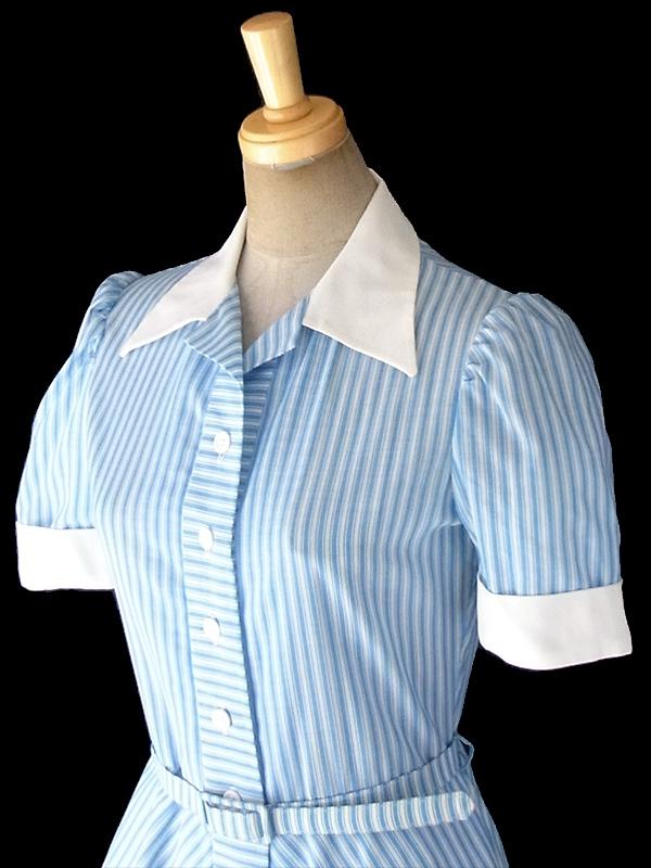 ヨーロッパ古着 60年代フランス製 水色 X ホワイト ストライプ 共布ベルト付き パフスリーブ シャツ ワンピース 18FC207