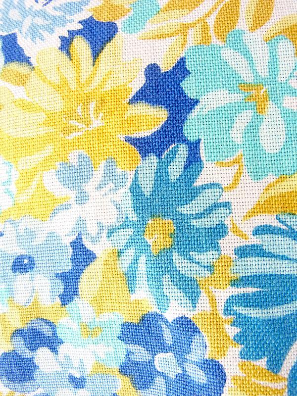 ヨーロッパ古着 フランス買い付け 60年代製 ブルー・水色・イエロー 花柄 Aライン ワンピース 18FC211