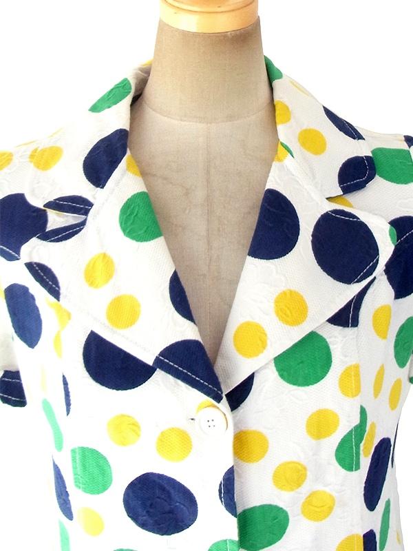 ヨーロッパ古着 フランス買い付け 60年代製 ホワイト 花柄の浮かぶ生地 X グリーン・ブルー・イエロー 水玉 ブラウス 18FC223