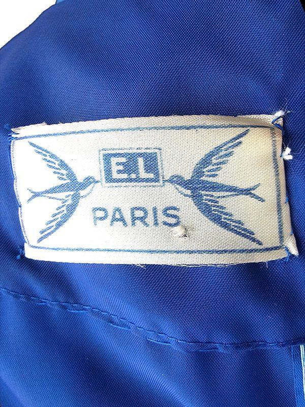 ヨーロッパ古着 70年代フランス製 ミッドナイトブルー X 絵画のような花柄プリント シフォン生地 プリーツ ドレス 18FC310