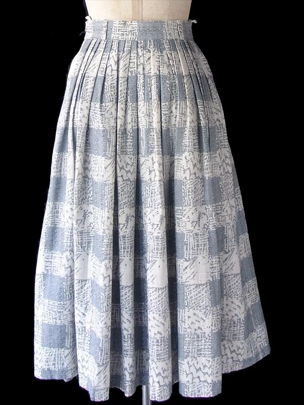 ヨーロッパ古着 60年代フランス製 アイボリー X ライトグレイ グラフィックパターン ギャザースカート 18FC318