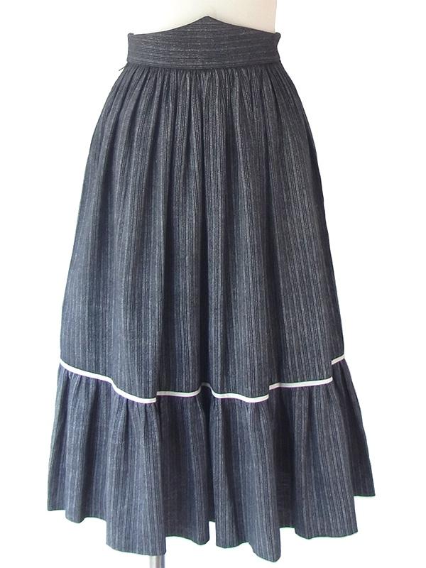 ヨーロッパ古着 フランス買い付け 60年代製 ブラック X グレイ ストライプ・モザイク ギャザー スカート 18FC319