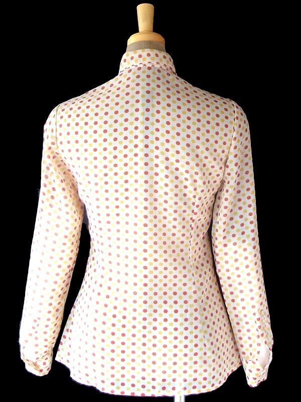 ヨーロッパ古着 70年代フランス製 ホワイト X レッド・イエロー 水玉 美麗シルエット ブラウス 18FC3203