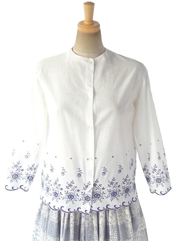 ヨーロッパ古着 フランス買い付け 60年代製 ホワイト X ブルー 花柄刺繍カットレース ヴィンテージ ブラウス 18FC323