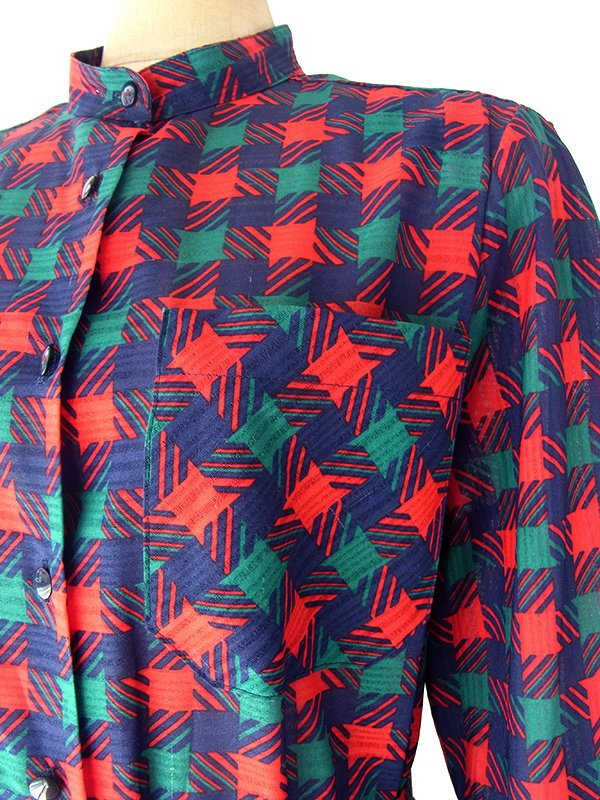 ヨーロッパ古着 フランス買い付け 70年代製 レッド・グリーン・ブルー チェック柄 共布ベルト付き プリーツ ワンピース 18FC400