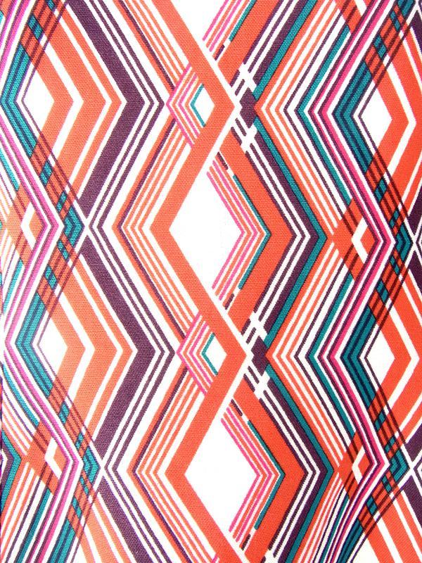 ヨーロッパ古着 フランス買い付け 70年代製 レッド X パープル・グリーン 幾何学模様 ヴィンテージ ワンピース 18FC407