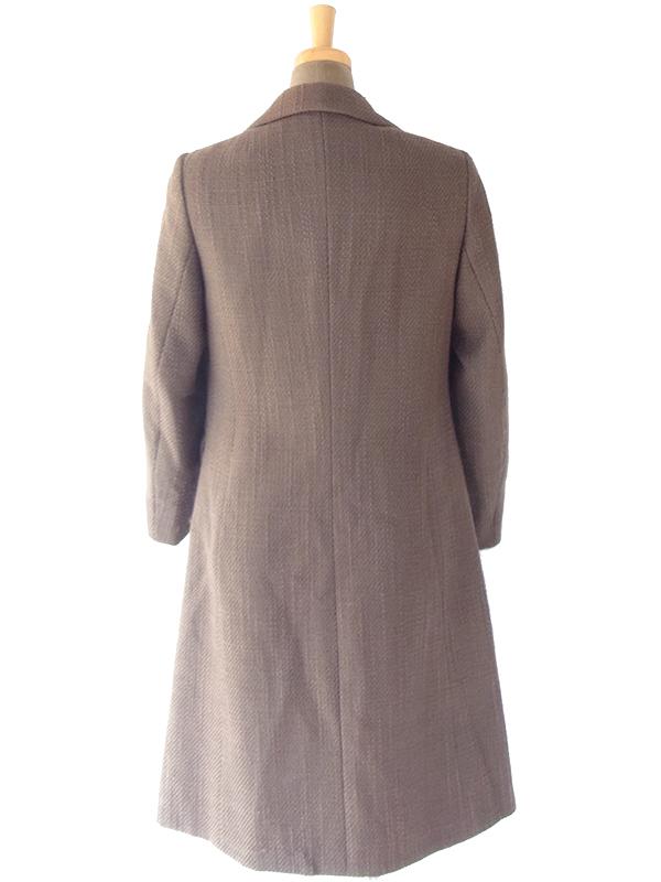 ヨーロッパ古着 フランス買い付け 60年代製 ダークブラウン X ウール ツイード コート 18FC503