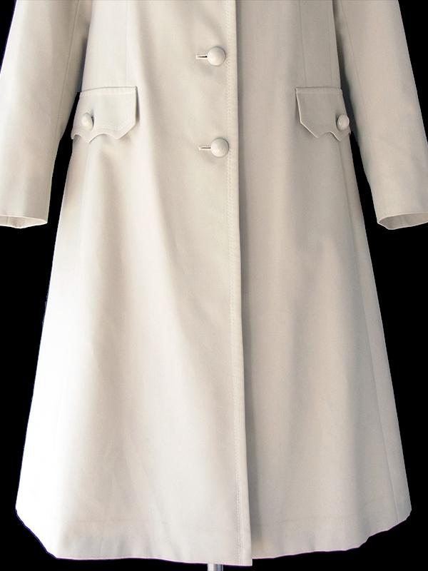ヨーロッパ古着 フランス買い付け ライトグレイ X ステッチデザイン Aライン コート 18FC507