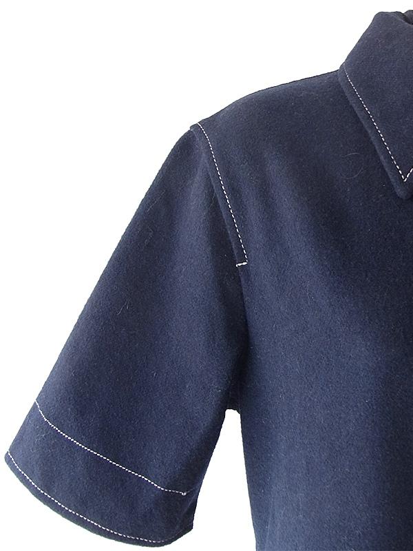 ヨーロッパ古着 フランス買い付け 60年代製デッドストック ネイビー X ホワイトステッチ Aライン ワンピース 18FC512