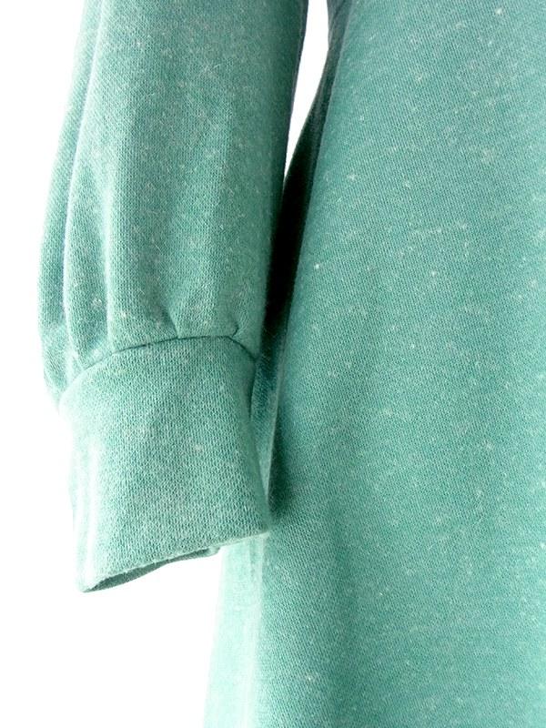 ヨーロッパ古着 フランス買い付け 60年代製 エメラルドグリーン X シンチウェルト シームデザイン ワンピース 18FC515