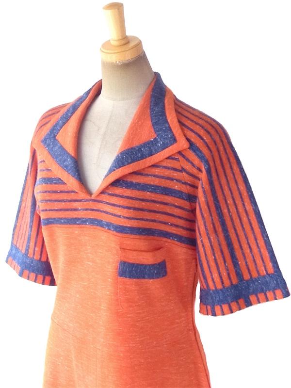 ヨーロッパ古着 60年代フランス製 ブラッドオレンジ X ネイビー ボーダー 胸ポケット付き ヴィンテージ ワンピース 18FC605