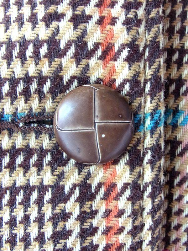 ヨーロッパ古着 ルーマニア製 ブラウン X カラフル ディストリクトチェック ヴィンテージ ウール コート 18FC615