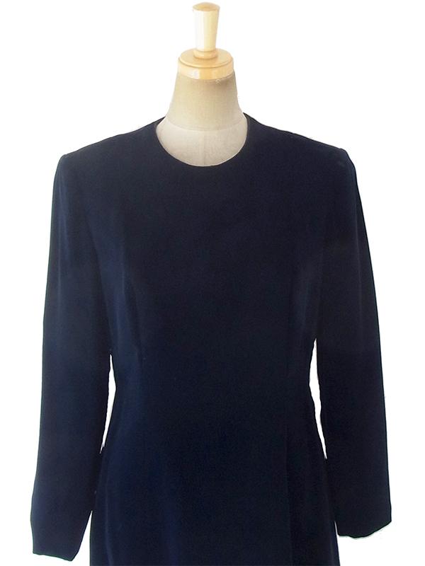 ヨーロッパ古着 ロンドン買い付けブラック X ベルベット ヴィンテージ ドレス 18OD001