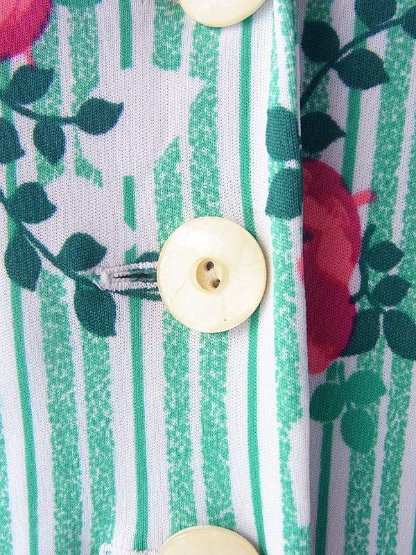 ヨーロッパ古着 ロンドン買い付け 70年代製 ホワイト X グリーン・レッド 薔薇・ストライププリント レトロ ワンピース 18OM010