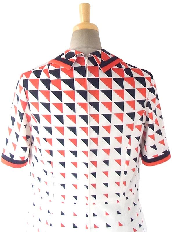 ヨーロッパ古着 70年代西ドイツ製 ホワイト X レッド・ブラック 幾何学模様 ヴィンテージ ワンピース 18OM201