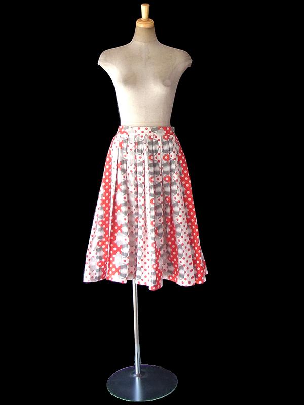 ヨーロッパ古着 ロンドン買い付け 50年代製 レッド X ホワイト・グレイ 水玉 リボン柄 ヴィンテージ スカート 18OM224