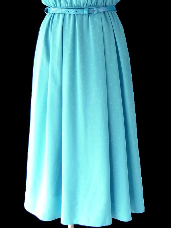 ヨーロッパ古着 ロンドン買い付け 70年代製 エメラルドブルー X 水玉の浮かぶクレープ生地 袖口レース ベルト付き ワンピース 18OM304