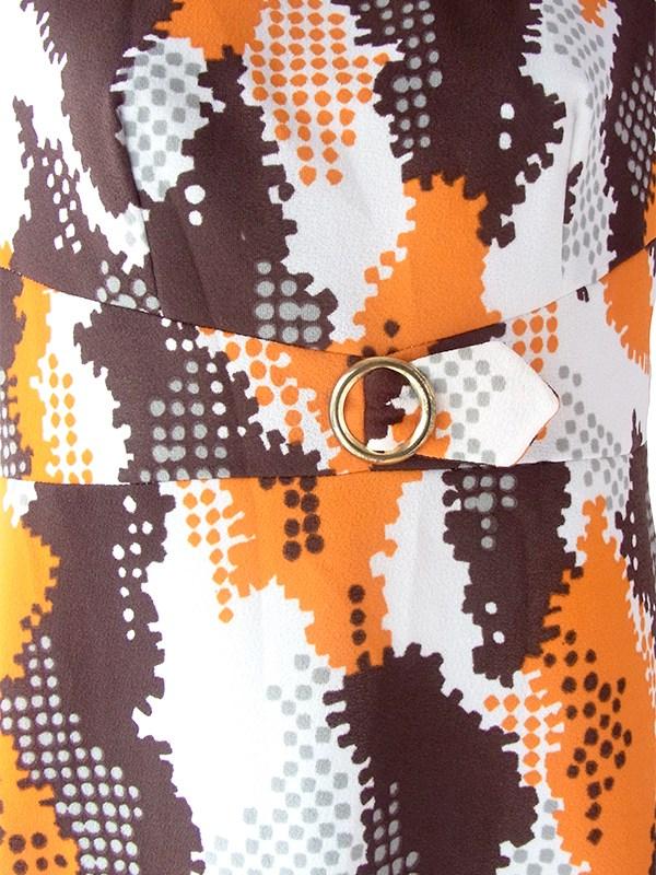 ヨーロッパ古着 ロンドン買い付け 70年代製 ホワイト X オレンジ・ブラウン ベルト風デザイン レトロ柄 ワンピース 18OM312
