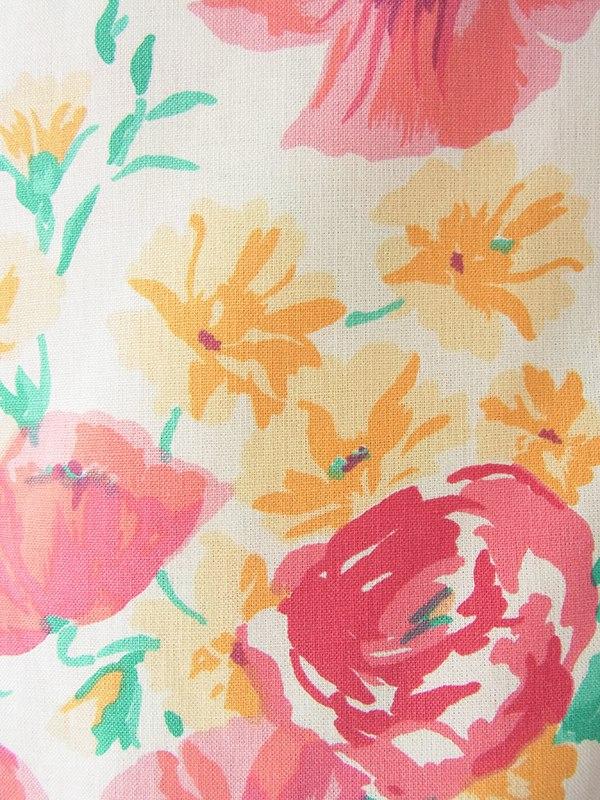 ヨーロッパ古着 イギリス製 laura ashley クリーム色 X カラフル花柄 ストラップ ワンピース 18OM319