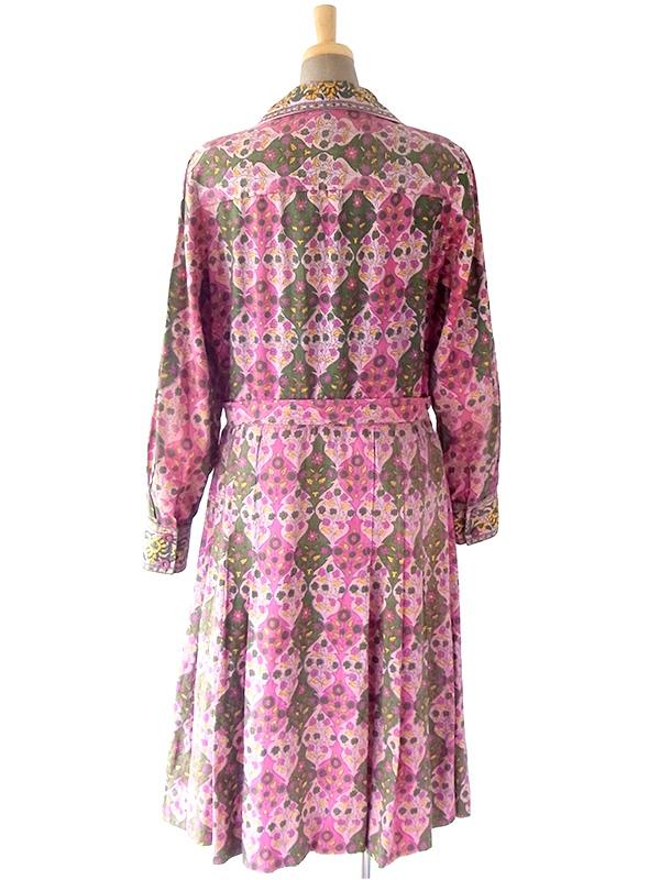 ヨーロッパ古着 ロンドン買い付け 60年代インド製 ピンク X グリーン・イエロー ポタニカル柄 共布ベルト付き ワンピース 18OM329