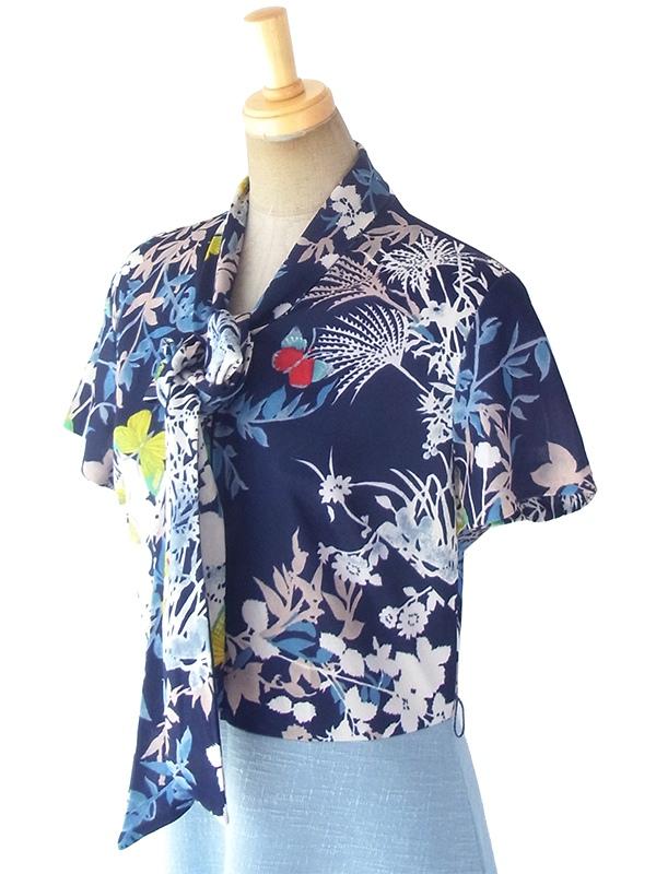 ヨーロッパ古着 ロンドン買い付け 70年代製 ネイビー 花柄 X 水色スカート 切り返し ボウタイ ワンピース 18OM336