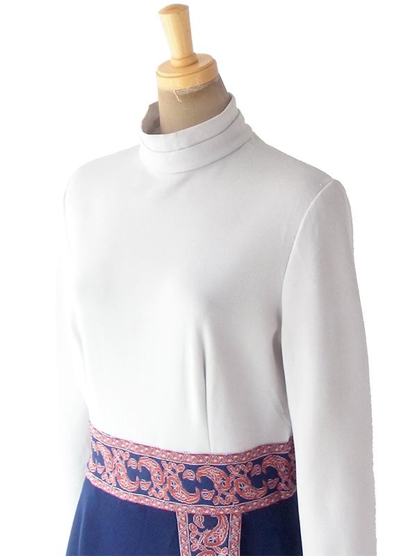 ヨーロッパ古着 ロンドン買い付け 70年代製 グレイ X ネイビー レトロ柄刺繍 ヴィンテージ ワンピース 18OM502