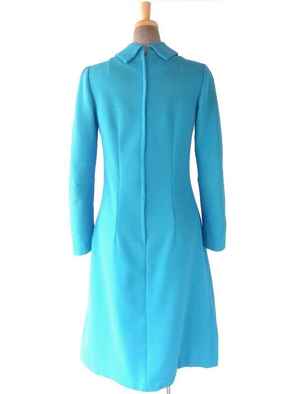 ヨーロッパ古着 ロンドン買い付け 70年代製 きれいなターコイズブルー 畝織り生地 レトロ ワンピース 18OM613