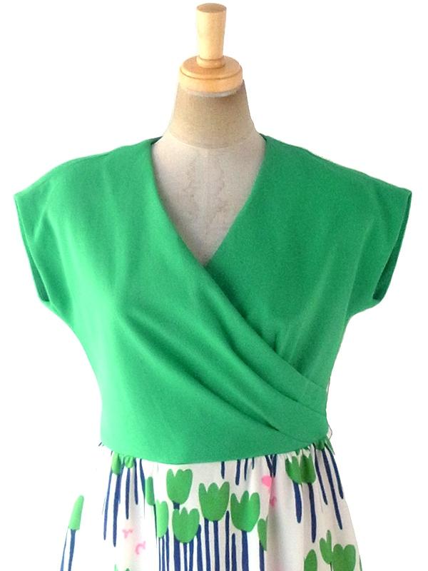 ヨーロッパ古着 ロンドン買い付け 70年代製 グリーン X カラフル花柄スカート 切り返し カシュクール ワンピース 18OM615