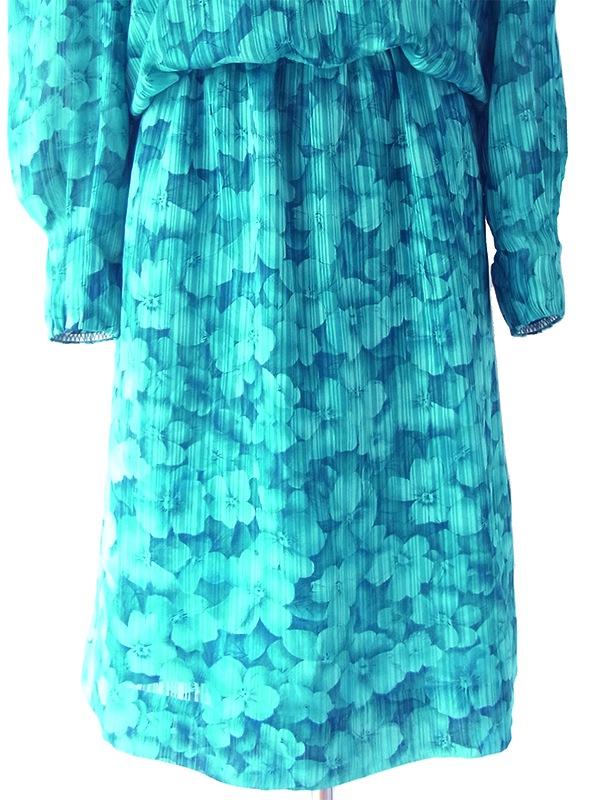 ヨーロッパ古着 ロンドン買い付け 70年代製 ターコイズブルー X 花柄・ストライプ カウルネック ワンピース 18SR003