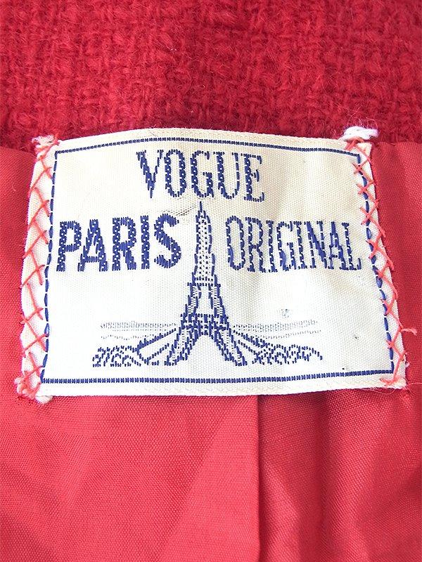 ヨーロッパ古着  60年代フランス製 VOGUE PARIS ORIGINAL レッド X くるみボタン ウール ジャケット 18SR008