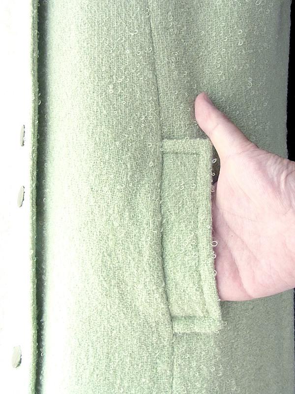 ヨーロッパ古着 ロンドン買い付け 60年代製 ペールグリーン X パイル地 ウール コート 18SR103