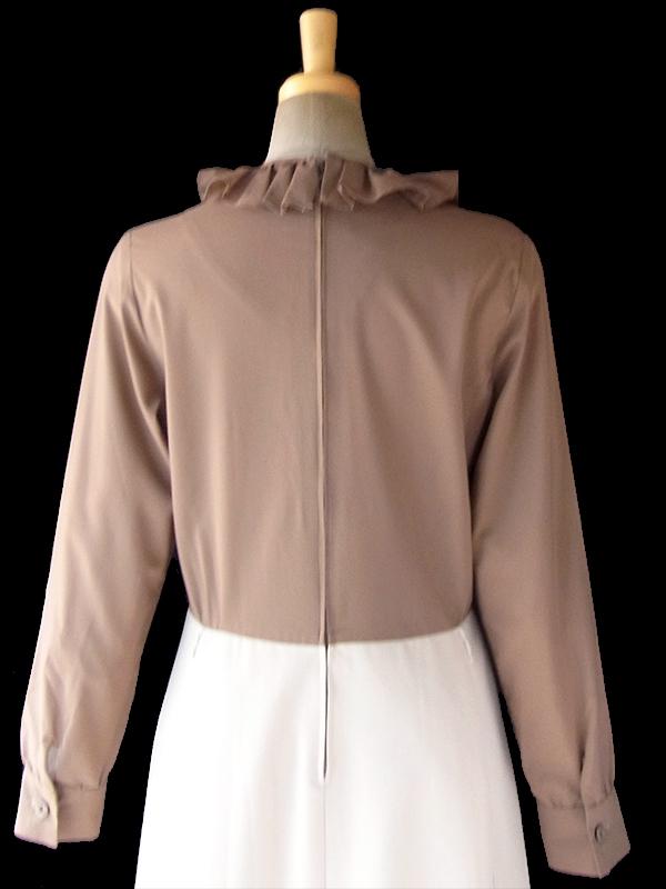 ヨーロッパ古着 ロンドン買い付け 70年代製 ブラウン X アイボリー 生地切り返し ギャザー襟 ワンピース 18SR109