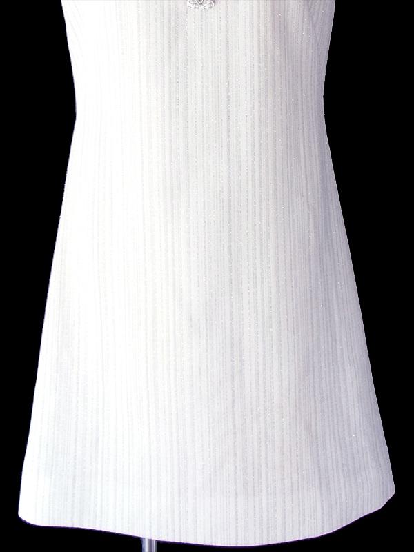 ヨーロッパ古着 ロンドン買い付け 70年代製 ホワイト X ラメ入りシルバー ストライプ ドレス 19BS002