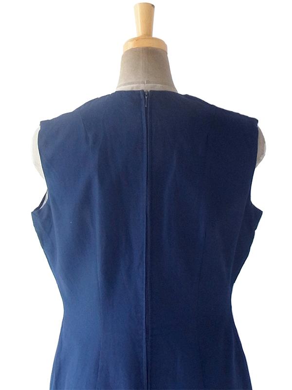 ヨーロッパ古着 ロンドン買い付け 60年代製 ネイビー X ホワイト テープ 裾元花柄切込み ヴィンテージ ワンピース 19BS007