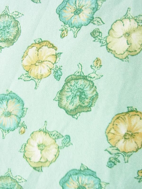 ヨーロッパ古着 ロンドン買い付け 70年代製 若草色 X グリーン・イエロー 花柄 フレア ワンピース 19BS010