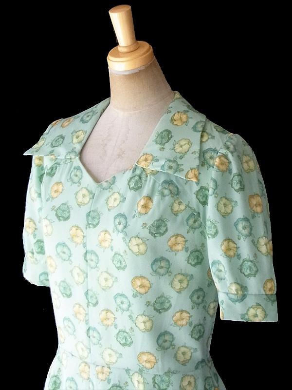 ヨーロッパ古着 ロンドン買い付け 70年代製 若草色 X グリーン・イエロー 花柄 フレア ワンピース1 19BS010