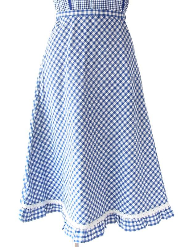 ヨーロッパ古着 ロンドン買い付け 60年代製 ブルー X ホワイト ギンガムチェック 共布ベルト付き ストラップ ワンピース 19BS028