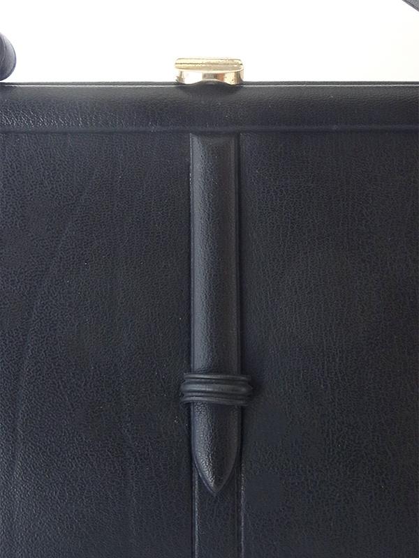 ヨーロッパ古着 ロンドン買い付け ブラック X がま口 レザー ヴィンテージ ハンドバッグ 19BS038