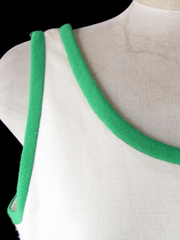 ヨーロッパ古着 ロンドン買い付け 60年代製 ライトベージュ X 鮮やかな花柄刺繍 サマー ウール ワンピース 19BS102