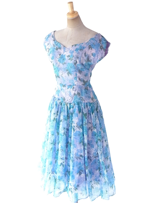 ヨーロッパ古着 ロンドン買い付け 70年代製 淡いパープル X ブルー 薔薇プリント ラインストーン  ドレス 19BS103