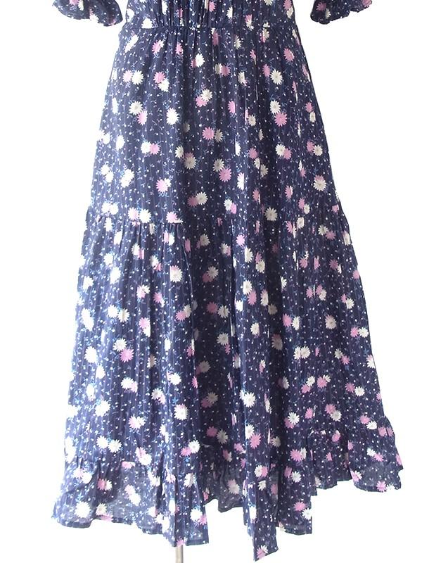 ヨーロッパ古着 ロンドン買い付け 60年代製 ネイビー X パープル・ホワイト 花柄 ティアード ワンピース 19BS118