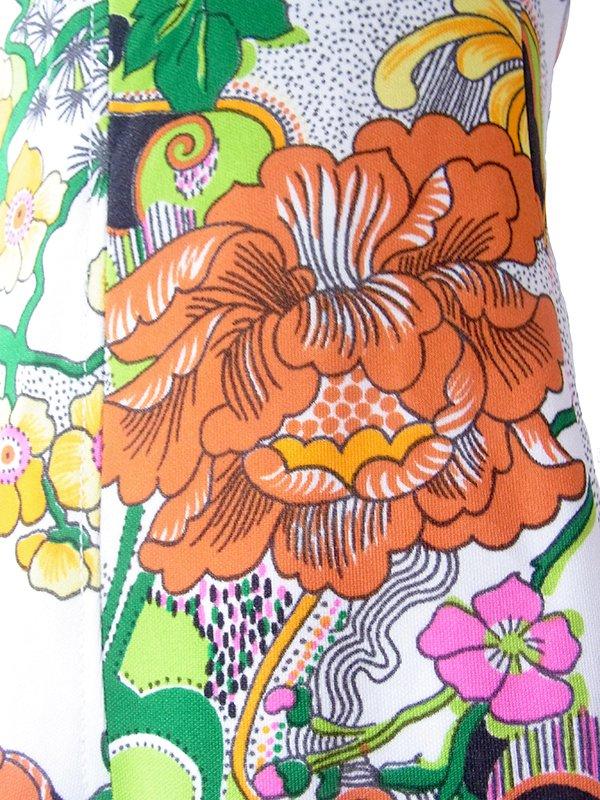 ロンドン買い付け 70年代製 ホワイト X カラフル花柄 ヴィンテージ ワンピース 19BS127