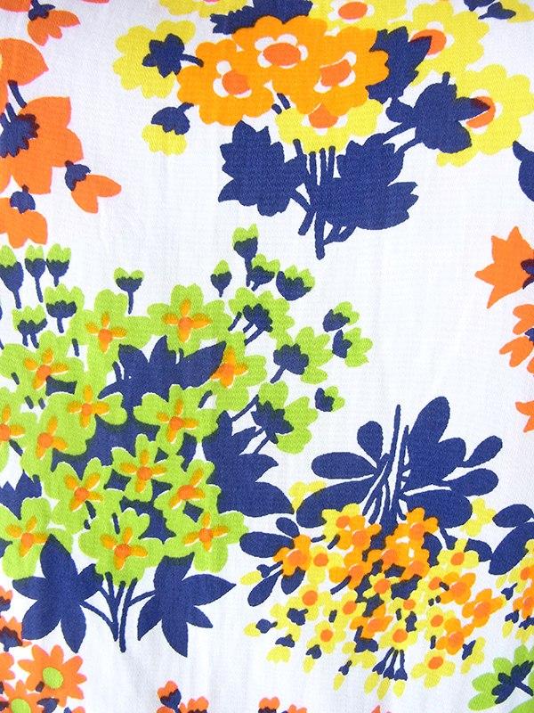 ヨーロッパ古着 ロンドン買い付け 70年代製 カラフル花柄 X ライムグリーン プリーツスカート 切り返し ワンピース 19BS201