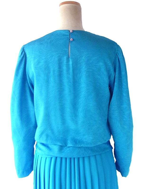 ヨーロッパ古着 70年代カナダ製 ターコイズブルー X 波模様が浮かぶシルク風生地 ドレス 19BS214