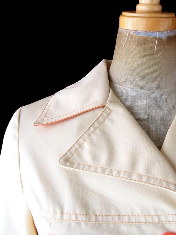 ヨーロッパ古着 ロンドン買い付け 70年代製 アプリコット X オレンジ ステッチデザイン 共布ベルト付き ジャケット 19BS217